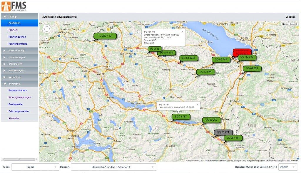 müllerchur Flottenmanagementsystem GPS Winterdienst Webclient