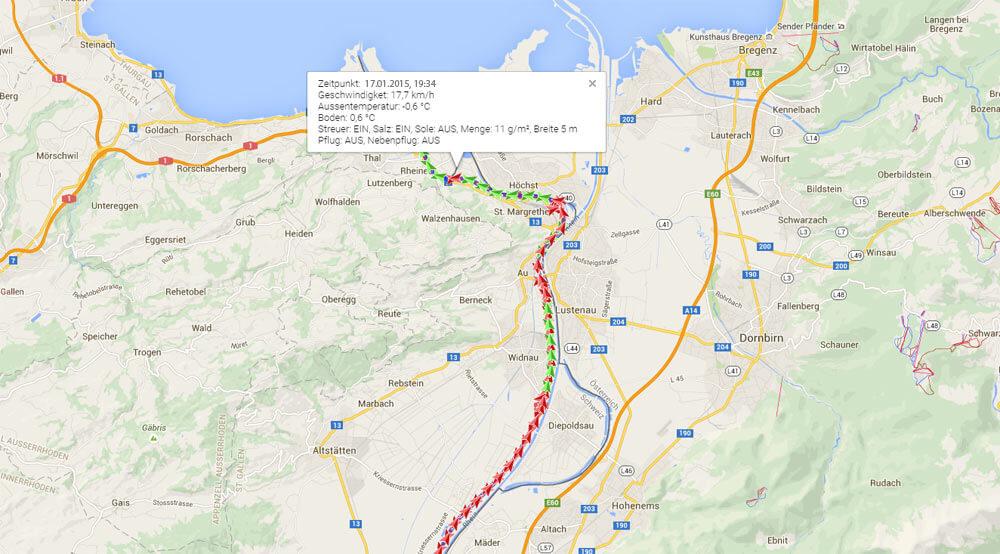 Route von Fahrzeug analysieren